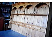 Solid Pine Welsh Dresser Top Very Large 2 Shelves & 6 Spice Drawers