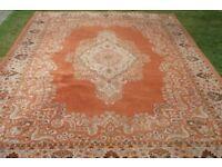 Very large warm orange wool Rug 8 Ft x 11 ft