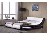 """Renzo Italian Modern Designer 4.6""""Double & 5ft King Size Faux Leather Bed Frame"""