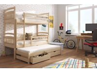 Wooden Bunk Bed Alan with Trundle and Storage in Pine