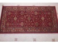 Small dark red burgundy rug 138 x 68 cm 100% wool