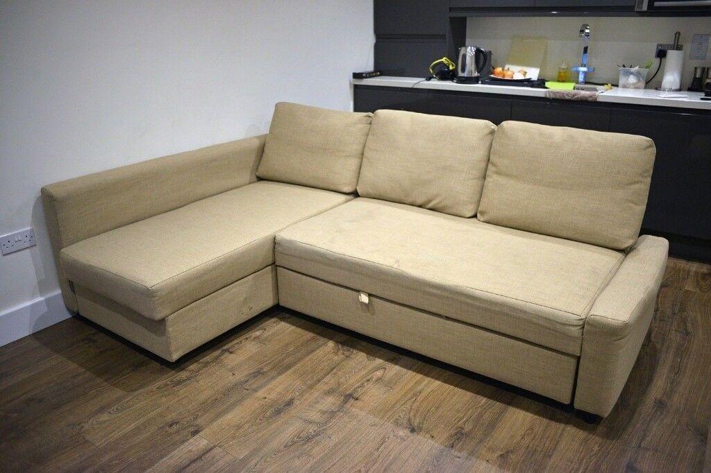 Ikea Friheten Biege Corner Chaise Sofa Bed W Storage