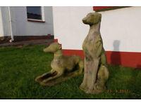 Whippet statues, garden ornaments