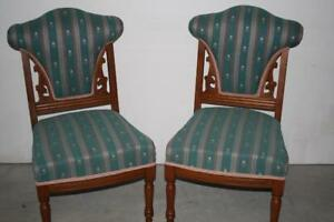 Vintage Solid Walnut Striped Brocade Chairs