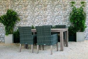 FREE Delivery in Vancouver! 5 PC Weathered Teak Outdoor Dining Table Set with Grey Wicker Patio Chairs by Cieux!