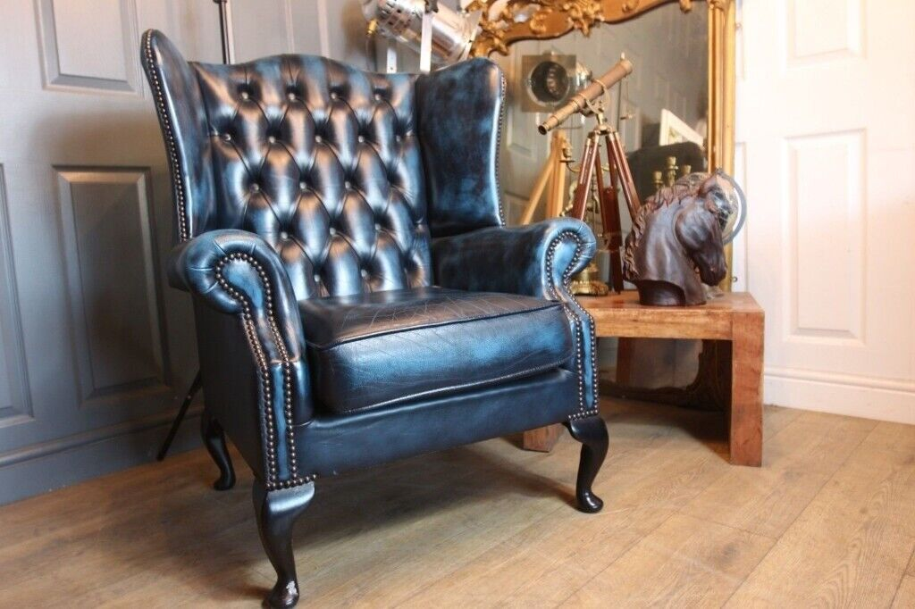 Incredible Chesterfield Wingback Armchair In Antique Blue Leather In Norwood London Gumtree Inzonedesignstudio Interior Chair Design Inzonedesignstudiocom