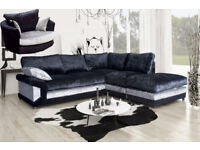 ALMOST NEW CRUSHED VELVET BLACK AND SILVER CORNER SOFA WITH SWIVEL CHAIR
