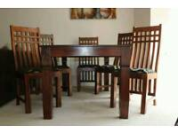 Reduced price... Beautiful real solid wood dining table and 6 chairs