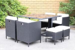 Summerland 9 PC OUTDOOR CUBE DINING SET /GREY OR BLACK--IFURNITURE FINAL SALE