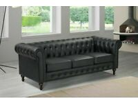 BRAND NEW FURNITURE- CHESTERFIELD PU LEATHER SOFA 3 SEATER-CASH ON DELIVERY