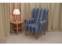 **Brand New** Wingback Chair in a Chambray Jura Fabric