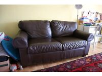 IKEA Ektorp Brown Leather 2 Seater Sofa, great condition, bargain