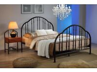Curved, bed frame, metal bed, Double bed, Black iron, padded, mattress, under frame storage