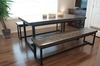 Reclaimed Wood & Iron Dining Table $1395 & Bench $735. By LIKEN