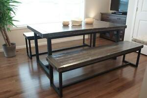 Reclaimed Wood and Iron Dining Table $1795, Bench $980. By LIKEN Woodworks