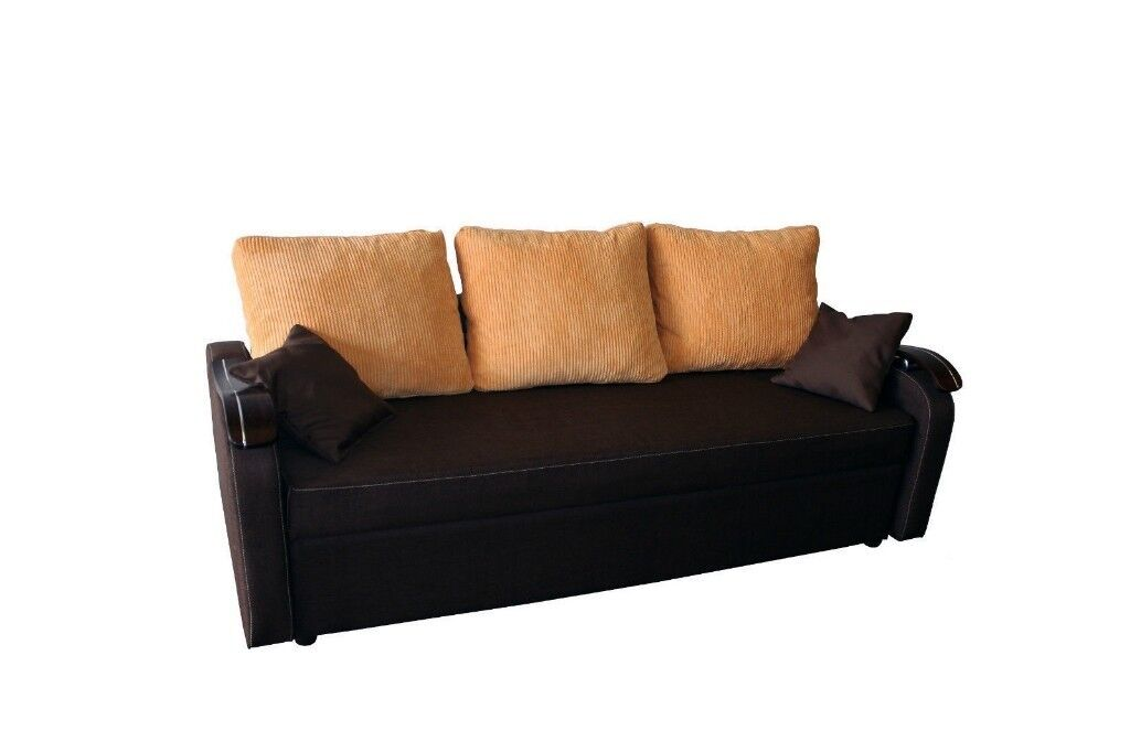 Brand New Dark Brown Fabric Ikea Sofa Bed Sleeper With Cushions