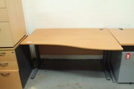Office Desk in Oak with metal frame legs used good condition