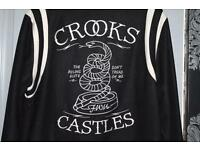 Crooks & Castles Tread on Me Black Baseball Jacket Black L