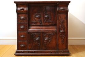 Antique Singer Sewing Machine Embossed Drawing Room Oak Cabinet Upcycled
