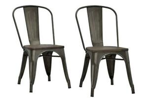 DHP Metal Dining Chair with Wood Seat, Distressed Metal Finish NEW ** 5 CORNERS FURNITURE**