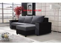 "Corner sofa bed sofa bed UK STOCK 1-5 DAY DELIVERY""Messina""(grey-black)"