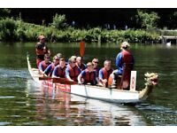 Crew at boat and represent Guide Dogs in Medway at the KM Dragon Boat Race