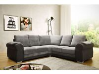 Fabric and Snake Leather corner sofa in Grey with Foam Seating 5 Seats FREE DELIVERY WITHIN 3 DAYS