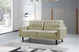 🎭SALE END SOON🎭 NEW MAZZ 2 Seater And 3 Seater Sofa Plush Velvet In Grey and Cream Color Available