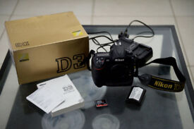 NIKON D3 CAMERA WITH EXTRA BATTERY, CHARGER, MEMORY CARD - VERY NEW SHUTTER - £799 ONO