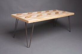 handmade retro look herringbone coffee table with hairpin legs