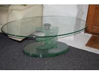 Glass spiral living room table