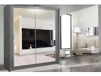 NEW STYLISH Chicago Sliding Door German Wardrobe in 4 Colours and Sizes! - SAME/NEXT DAY DELIVERY