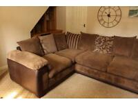 Right hand-facing DFS 'Infinity' model brown corner sofa