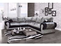 **FEW LEFT IN STOCK**BRAND NEW ANCONA CRUSHED VELVET CORNER SOFA OR 3+2 FAST DELIVERY