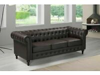 NG1 1DQCHESTERFIELD PU LEATHER SOFA 3 SEATER-ORDER NOW