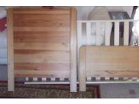 Child Pine single bed frame with John Lewis mattress size 140 cm x 70 cm Toddler bed frame