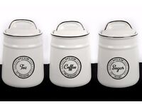 Set of 3 Ceramic Tea Coffee and Sugar Canisters - Heart of the Home Ivory White and Black