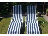 Two Reclining Sunlounger garden chair sun lounger