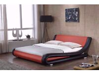 ENZO ITALIAN LEATHER BED FRAME ONLY - RED & BLACK - BRAND NEW £80