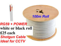100m roll Satellite Cable RG59 + 2 power leads white or black RRP £38 (wooden drums)