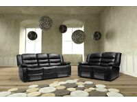 ***ROMAS BLACK NEW LEATHER RECLINER SOFAS***