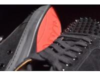 NEW CHRISTIAN LOUBOUTIN all black SHOES with SPIKES red bottoms BRAND NEW