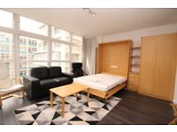 ** Spacious studio apartment comprises a bright and airy reception/sleeping area, CB **