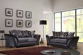 LEATHER AND FABRIC CORNER SOFA 3 AND 2 SEATER SOFA AVAILABLE IN GREY / BLACK MINK AND BROWN COLOR