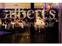 Experienced servers required at Albert's Restaurant and Bar, Didsbury