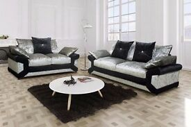 Amazing crushed velvet dino 3 + 2 seater sofa in grey and black