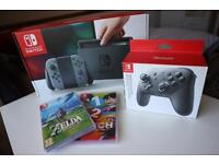 Nintendo Switch, mint condition - Pro controller - Zelda BOTW - 1,2 Switch