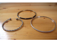 3 bangles – 2 x silver coloured metal + 1 x brown/gold coloured plastic. £1.50 the lot.