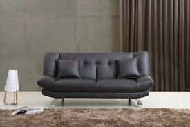 BLACK LEATHER SOFA BED ONLY £175, FREE DELIVERY
