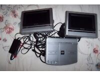 DVD PLAYER AND TWO TV SCREENS FOR IN CAR OR MOTORHOME VIEWING